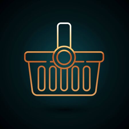 Gold line Shopping basket icon isolated on dark blue background. Online buying concept. Delivery service sign. Shopping cart symbol. Vector Illustration
