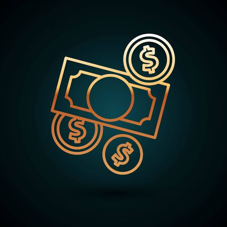 Gold line Stacks paper money cash and coin money with dollar symbol icon isolated on dark blue background. Money banknotes stacks. Vector Illustration