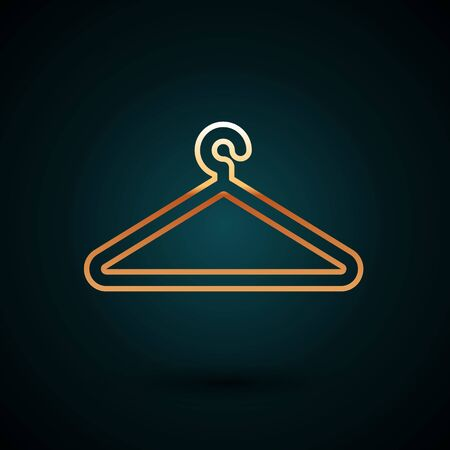 Gold line Hanger wardrobe icon isolated on dark blue background. Cloakroom icon. Clothes service symbol. Laundry hanger sign. Vector Illustration