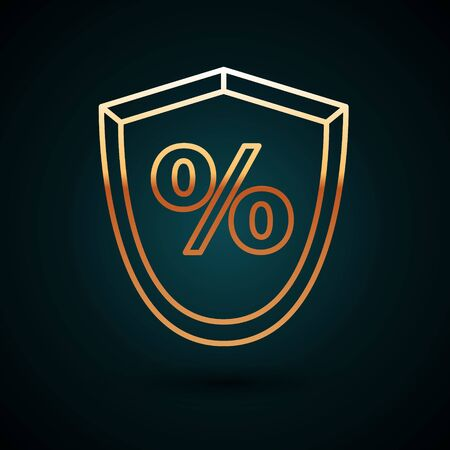 Gold line Loan percent icon isolated on dark blue background. Protection shield sign. Credit percentage symbol. Vector Illustration