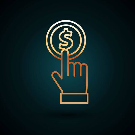 Gold line Hand holding coin icon isolated on dark blue background. Dollar or USD symbol. Cash Banking currency sign. Vector Illustration