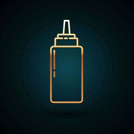 Gold line Sauce bottle icon isolated on dark blue background. Ketchup, mustard and mayonnaise bottles with sauce for fast food. Vector Illustration