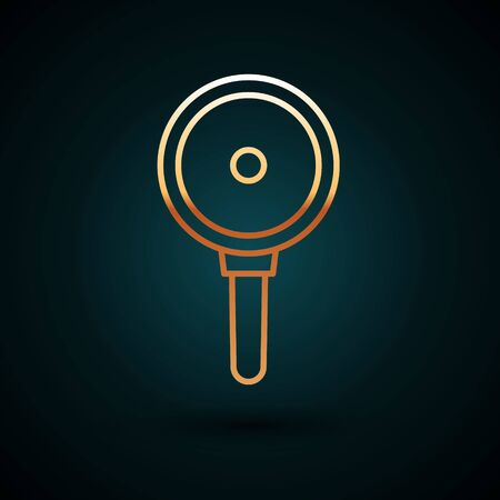 Gold line Frying pan icon isolated on dark blue background. Fry or roast food symbol. Vector Illustration