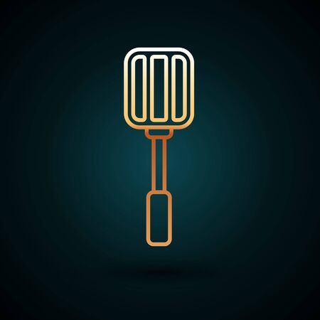 Gold line Spatula icon isolated on dark blue background. Kitchen spatula icon. BBQ spatula sign. Barbecue and grill tool. Vector Illustration
