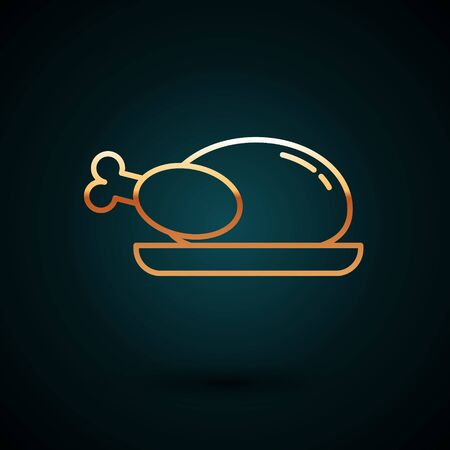 Gold line Roasted turkey or chicken icon isolated on dark blue background. Vector Illustration
