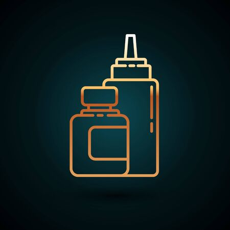Gold line Sauce bottle icon isolated on dark blue background. Ketchup, mustard and mayonnaise bottles with sauce for fast food. Vector Illustration Ilustração