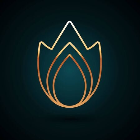 Gold line Fire flame icon isolated on dark blue background. Heat symbol. Vector Illustration