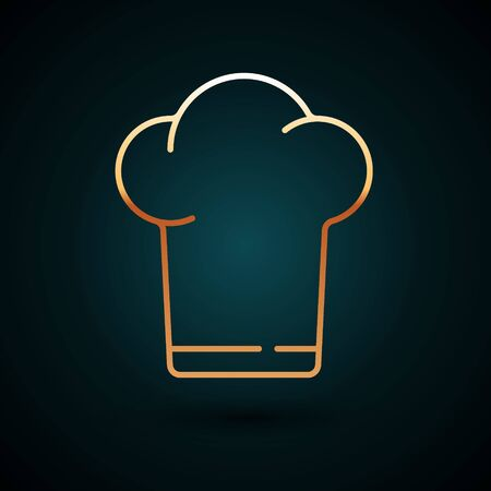 Gold line Chef hat icon isolated on dark blue background. Cooking symbol. Cooks hat. Vector Illustration Stock Illustratie