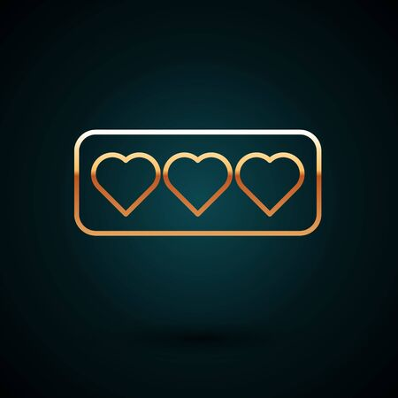 Gold line Like and heart icon isolated on dark blue background. Counter Notification Icon.