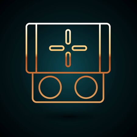 Gold line Portable video game console icon isolated on dark blue background. Gamepad sign. Gaming concept. Vector Illustration