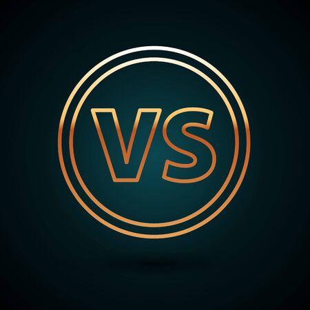 Gold line VS Versus battle icon isolated on dark blue background. Competition vs match game, martial battle vs sport. Vector Illustration