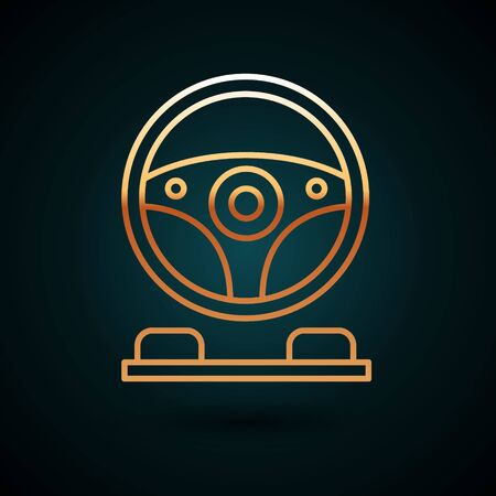 Gold line Racing simulator cockpit icon isolated on dark blue background. Gaming accessory. Gadget for driving simulation game. Vector Illustration