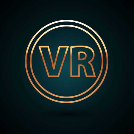 Gold line Virtual reality glasses icon isolated on dark blue background. Stereoscopic 3d vr mask. Vector Illustration 일러스트