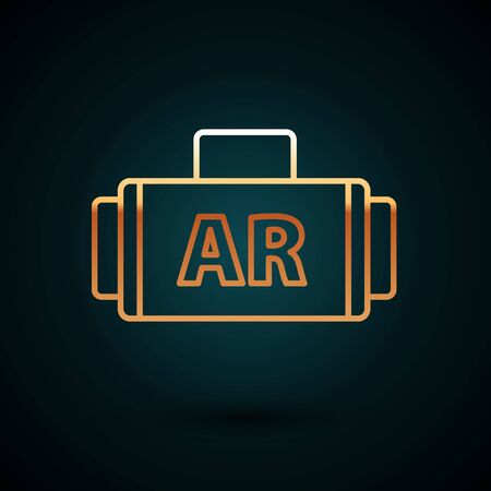 Gold line Ar, augmented reality icon isolated on dark blue background. Vector Illustration