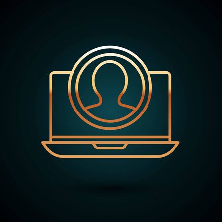 Gold line Create account screen icon isolated on dark blue background. Vector Illustration