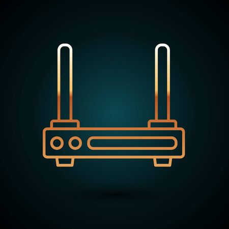 Gold line Router and wifi signal symbol icon isolated on dark blue background. Wireless modem router. Computer technology internet. Vector Illustration