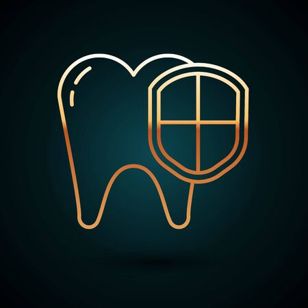Gold line Dental protection icon isolated on dark blue background. Tooth on shield logo. Vector Illustration 일러스트