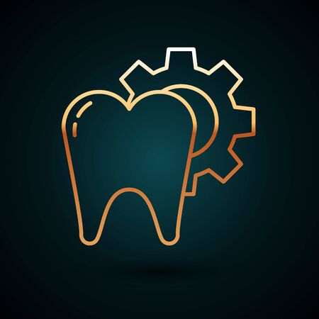 Gold line Tooth treatment procedure icon isolated on dark blue background. Tooth repair with gear. Vector Illustration 일러스트
