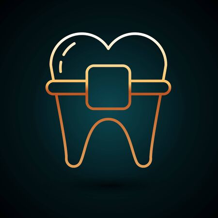 Gold line Teeth with braces icon isolated on dark blue background. Alignment of bite of teeth, dental row with with braces. Dental concept. Vector Illustration