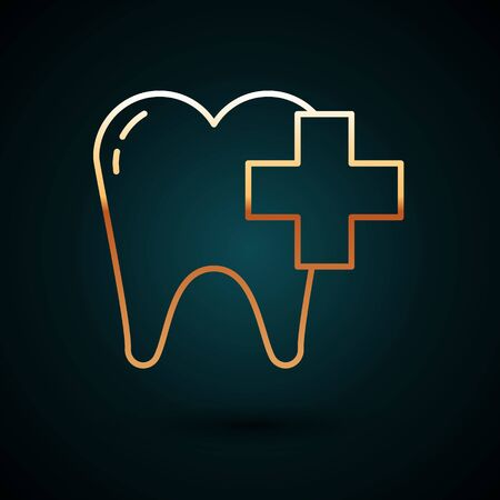 Gold line Dental clinic for dental care tooth icon isolated on dark blue background. Vector Illustration