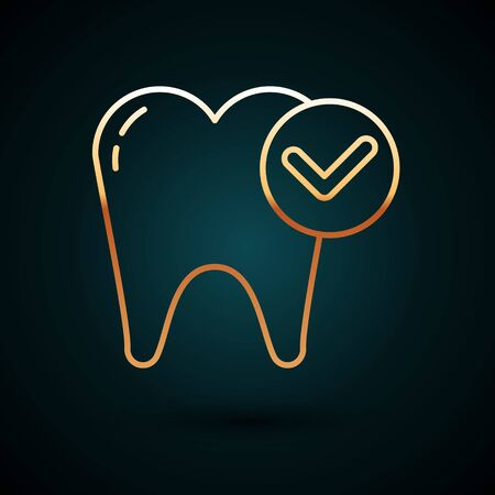 Gold line Tooth whitening concept icon isolated on dark blue background. Tooth symbol for dentistry clinic or dentist medical center. Vector Illustration