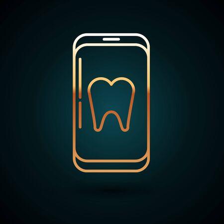 Gold line Online dental care icon isolated on dark blue background. Dental service information call center. Vector Illustration
