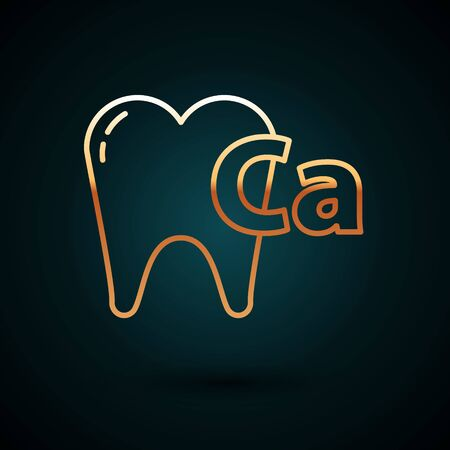 Gold line Calcium for tooth icon isolated on dark blue background. Tooth symbol for dentistry clinic or dentist medical center. Vector Illustration 일러스트
