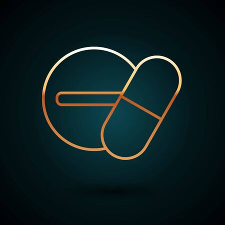 Gold line Medicine pill or tablet icon isolated on dark blue background. Capsule pill and drug sign. Pharmacy design. Vector Illustration