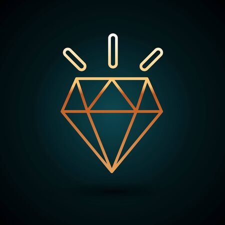 Gold line Diamond teeth icon isolated on dark blue background. Vector Illustration