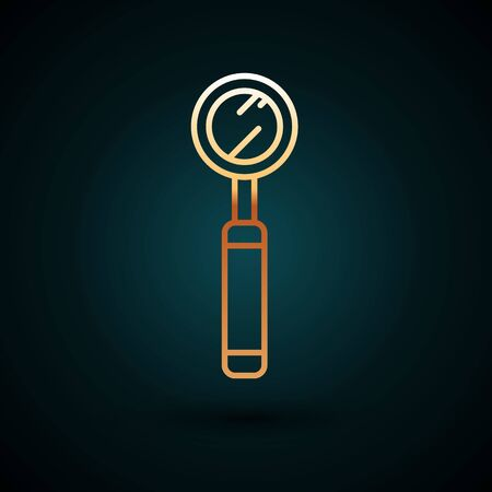 Gold line Dental inspection mirror icon isolated on dark blue background. Tool dental checkup. Vector Illustration