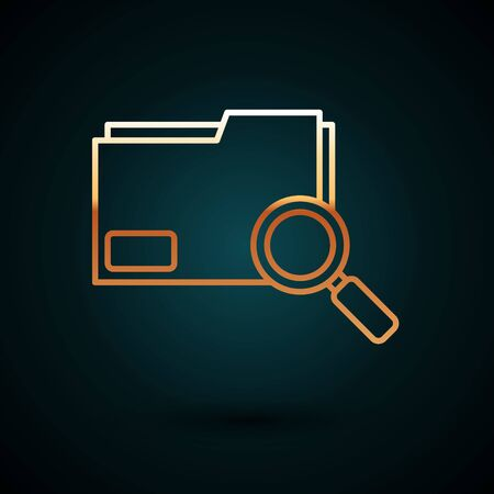 Gold line Search concept with folder icon isolated on dark blue background. Magnifying glass and document. Data and information sign. Vector Illustration 일러스트