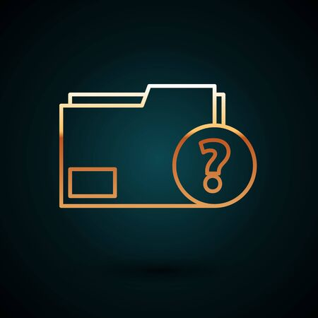 Gold line Unknown document folder icon isolated on dark blue background. File with Question mark. Hold report, service and global search sign. Vector Illustration