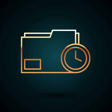 Gold line Document folder with clock icon isolated on dark blue background. Document and countdown, deadline, schedule, planning symbol. Vector Illustration