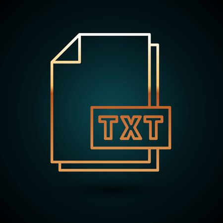 Gold line TXT file document. Download txt button icon isolated on dark blue background. Text file extension symbol. Vector Illustration 일러스트