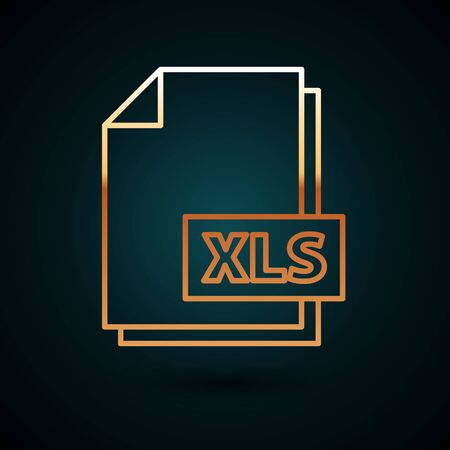 Gold line XLS file document. Download xls button icon isolated on dark blue background. Excel file symbol. Vector Illustration
