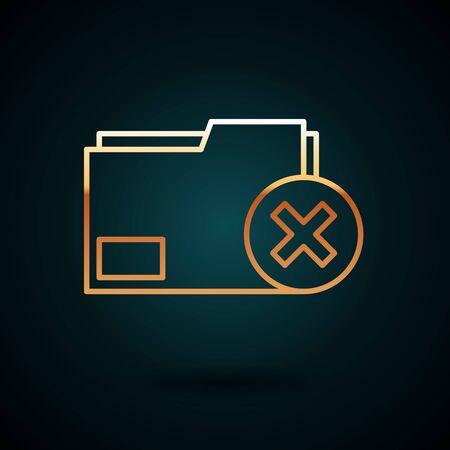 Gold line Delete folder icon isolated on dark blue background. Delete or error folder. Close computer information folder. Vector Illustration
