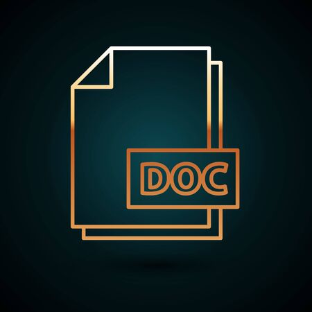 Gold line DOC file document. Download doc button icon isolated on dark blue background. DOC file extension symbol. Vector Illustration