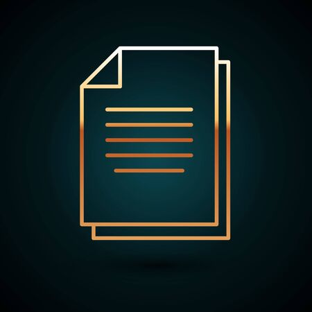 Gold line Document icon isolated on dark blue background. File icon. Checklist icon. Business concept. Vector Illustration 일러스트