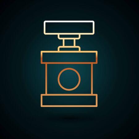 Gold line Handle detonator for dynamite icon isolated on dark blue background. Vector Illustration