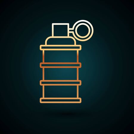Gold line Hand grenade icon isolated on dark blue background. Bomb explosion. Vector Illustration
