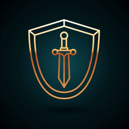 Gold line Medieval shield with sword icon isolated on dark blue background. Vector Illustration