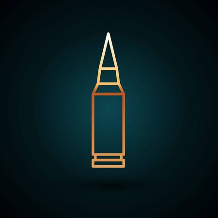 Gold line Bullet icon isolated on dark blue background. Vector Illustration