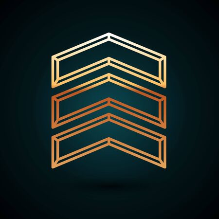 Gold line Military rank icon isolated on dark blue background. Military badge sign. Vector Illustration