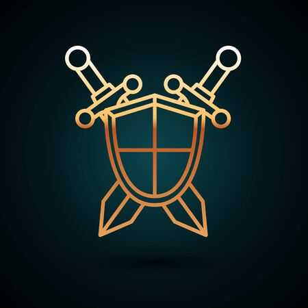 Gold line Medieval shield with crossed swords icon isolated on dark blue background. Vector Illustration 일러스트
