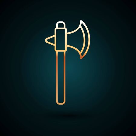 Gold line Medieval axe icon isolated on dark blue background. Battle axe, executioner axe. Vector Illustration