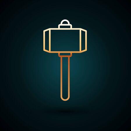 Gold line Battle hammer icon isolated on dark blue background. Vector Illustration 일러스트