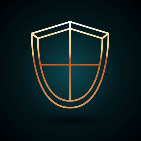 Gold line Shield icon isolated on dark blue background. Guard sign. Security, safety, protection, privacy concept. Vector Illustration 일러스트