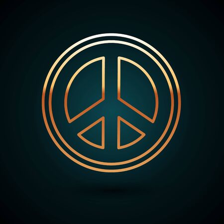 Gold line Peace icon isolated on dark blue background. Hippie symbol of peace. Vector Illustration