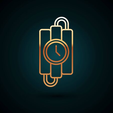 Gold line Detonate dynamite bomb stick and timer clock icon isolated on dark blue background. Time bomb - explosion danger concept. Vector Illustration Ilustração