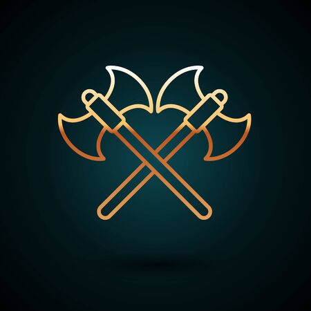 Gold line Crossed medieval axes icon isolated on dark blue background. Battle axe, executioner axe. Vector Illustration 일러스트